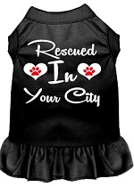 Rescued in Washington D.C. Screen Print Souvenir Dog Dress Black XS