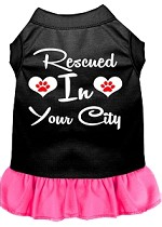 Rescued in Washington D.C. Screen Print Souvenir Dog Dress Black with Bright Pink XS