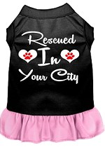 Rescued in Washington D.C. Screen Print Souvenir Dog Dress Black with Light Pink XS