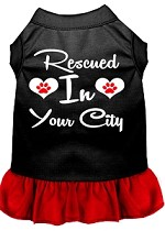 Rescued in Washington D.C. Screen Print Souvenir Dog Dress Black with Red XS
