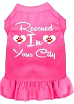Rescued in Washington D.C. Screen Print Souvenir Dog Dress Bright Pink XS