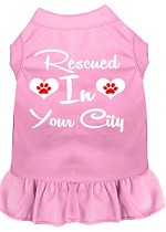 Rescued in Washington D.C. Screen Print Souvenir Dog Dress Light Pink XS
