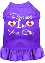 Rescued in Washington D.C. Screen Print Souvenir Dog Dress Purple XS