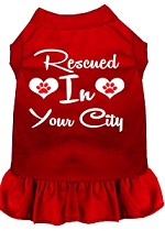Rescued in Washington D.C. Screen Print Souvenir Dog Dress Red XS