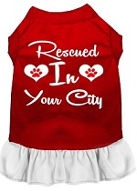 Rescued in Washington D.C. Screen Print Souvenir Dog Dress Red with White XS