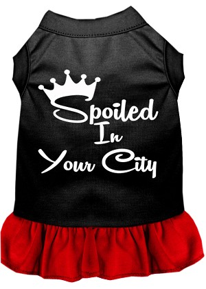 Spoiled in Custom City Screen Print Souvenir Dog Dress Black with Red Med