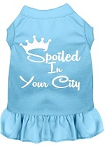 Spoiled in Washington D.C. Screen Print Souvenir Dog Dress Baby Blue XS