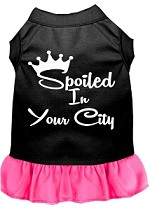 Spoiled in Washington D.C. Screen Print Souvenir Dog Dress Black with Bright Pink XS