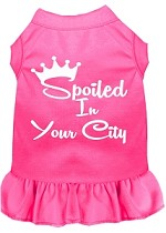 Spoiled in Washington D.C. Screen Print Souvenir Dog Dress Bright Pink XS