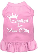 Spoiled in Washington D.C. Screen Print Souvenir Dog Dress Light Pink XS