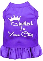 Spoiled in Washington D.C. Screen Print Souvenir Dog Dress Purple XS