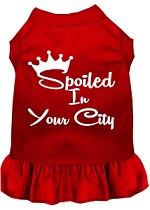 Spoiled in Washington D.C. Screen Print Souvenir Dog Dress Red XS