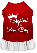 Spoiled in Washington D.C. Screen Print Souvenir Dog Dress Red with White XS