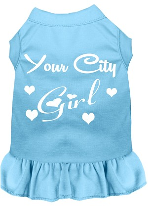 Custom City Girl Screen Print Souvenir Dog Dress Baby Blue Med