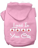 Loved In Washington D.C. Screen Print Souvenir Dog Hoodie Light Pink MD