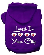 Loved In Washington D.C. Screen Print Souvenir Dog Hoodie Purple MD