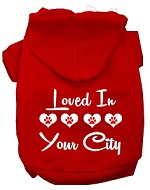 Loved In Washington D.C. Screen Print Souvenir Dog Hoodie Red XS