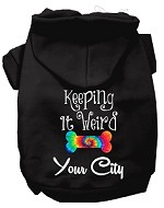 Keeping it Weird Washington D.C. Screen Print Souvenir Dog Hoodie Black XS