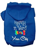 Keeping it Weird Washington D.C. Screen Print Souvenir Dog Hoodie Blue XS