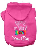 Keeping it Weird Washington D.C. Screen Print Souvenir Dog Hoodie Bright Pink XS