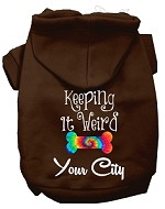 Keeping it Weird Washington D.C. Screen Print Souvenir Dog Hoodie Brown XS