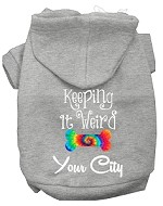 Keeping it Weird Washington D.C. Screen Print Souvenir Dog Hoodie Grey XS