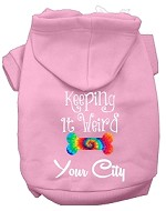 Keeping it Weird Washington D.C. Screen Print Souvenir Dog Hoodie Light Pink XS