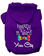 Keeping it Weird Washington D.C. Screen Print Souvenir Dog Hoodie Purple XS