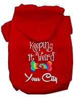 Keeping it Weird Washington D.C. Screen Print Souvenir Dog Hoodie Red XS