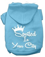 Spoiled In San Diego Screen Print Souvenir Dog Hoodie Baby Blue XS