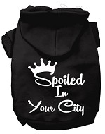 Spoiled In San Diego Screen Print Souvenir Dog Hoodie Black XS