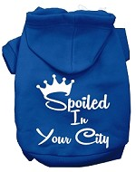 Spoiled In San Diego Screen Print Souvenir Dog Hoodie Blue XXXL