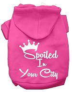 Spoiled In San Diego Screen Print Souvenir Dog Hoodie Bright Pink XXXL