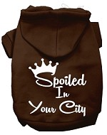Spoiled In San Diego Screen Print Souvenir Dog Hoodie Brown XL