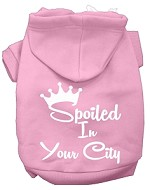 Spoiled In San Diego Screen Print Souvenir Dog Hoodie Light Pink XL