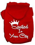 Spoiled In San Diego Screen Print Souvenir Dog Hoodie Red XS