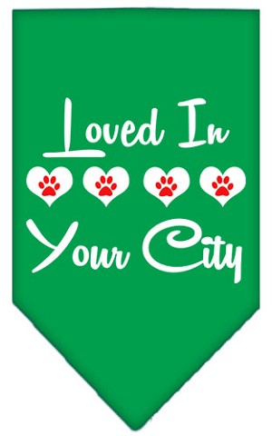 Loved in Washington D.C. Screen Print Souvenir Pet Bandana Emerald Green Large