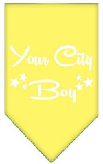 Washington D.C. Boy Screen Print Souvenir Pet Bandana Yellow Small