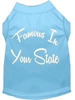 Famous in Arkansas Screen Print Souvenir Dog Shirt Baby Blue XS