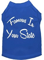 Famous in Arkansas Screen Print Souvenir Dog Shirt Blue XS