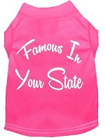 Famous in Arkansas Screen Print Souvenir Dog Shirt Bright Pink XS