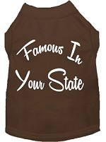 Famous in Arkansas Screen Print Souvenir Dog Shirt Brown XS