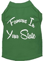 Famous in Arkansas Screen Print Souvenir Dog Shirt Green XS