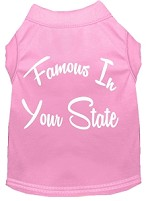 Famous in Arkansas Screen Print Souvenir Dog Shirt Light Pink XS