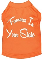 Famous in Arkansas Screen Print Souvenir Dog Shirt Orange XS