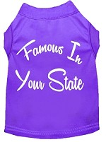 Famous in Arkansas Screen Print Souvenir Dog Shirt Purple XS