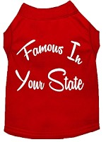 Famous in Arkansas Screen Print Souvenir Dog Shirt Red XS
