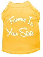 Famous in Arkansas Screen Print Souvenir Dog Shirt Yellow XS