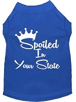 Spoiled in Kansas Screen Print Souvenir Dog Shirt Blue XS