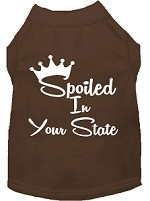 Spoiled in Kansas Screen Print Souvenir Dog Shirt Brown XS